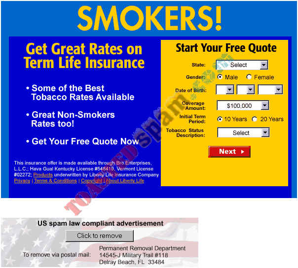 toastedspam.com savquest.com 0005 - 2004-07-25	smokers-insurance.net - life.savquest.com/Q/page/0/-/51/268377 mailto:hostmaster@savquest.com 561-245-1484 domainadmin@thecredogroup.com 609-750-2663